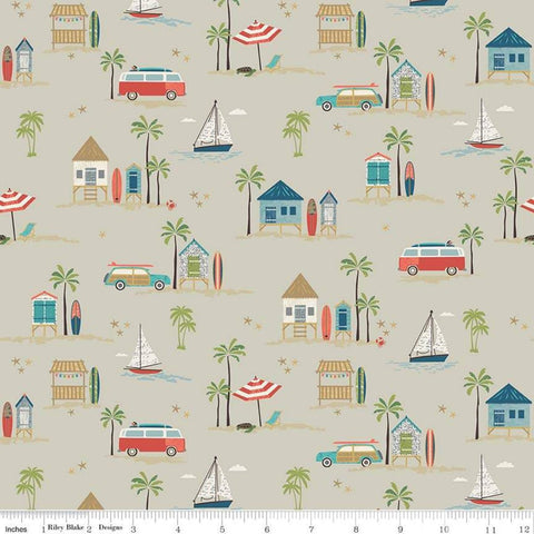 Offshore 2 Main Tan - Riley Blake Designs - Beige Surfboards Beach Shacks Wagons Sailboats - Quilting Cotton Fabric