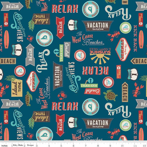 Offshore 2 Retro Sign Navy - Riley Blake Designs - Beach Signs Blue Text - Quilting Cotton Fabric