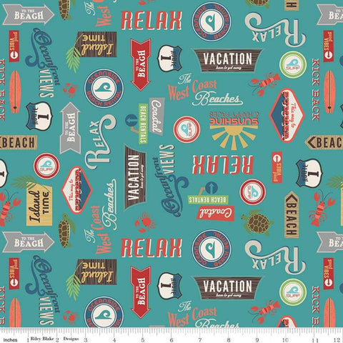 Offshore 2 Retro Sign Teal - Riley Blake Designs - Beach Signs Blue Text - Quilting Cotton Fabric