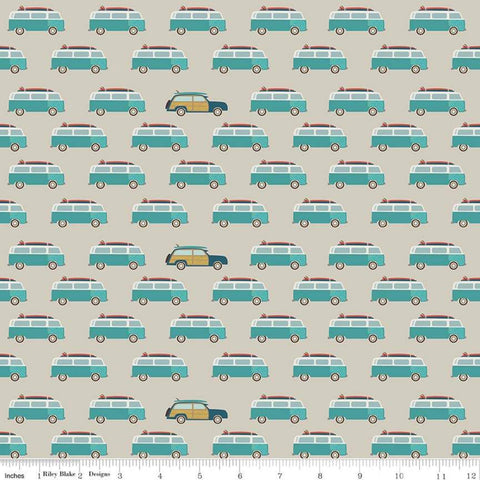 Offshore 2 Wagon Tan - Riley Blake Designs - Beige Teal Blue Station Wagons Vans Retro Beach - Quilting Cotton Fabric - End of bolt pieces