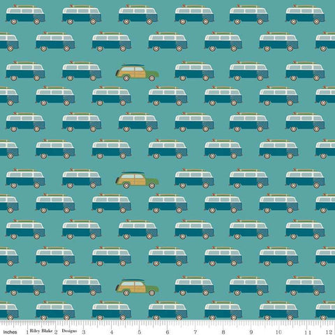 Offshore 2 Wagon Teal - Riley Blake Designs - Blue Station Wagons Vans Retro Beach - Quilting Cotton Fabric