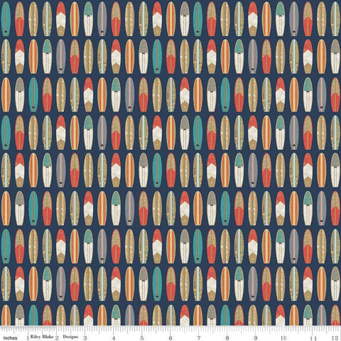 Offshore 2 Surfboard Navy - Riley Blake Designs - Blue Retro Beach - Quilting Cotton Fabric