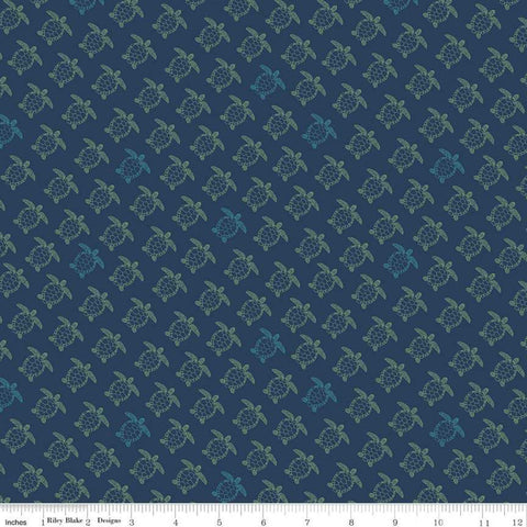 Offshore 2 Turtle Navy - Riley Blake Designs - Blue Sea Turtles Retro Beach - Quilting Cotton Fabric