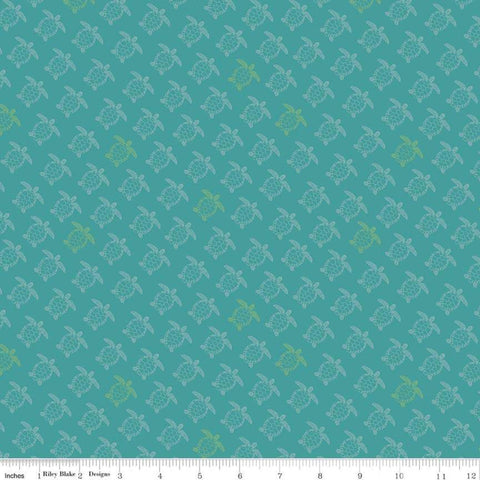 SALE Offshore 2 Turtle Teal - Riley Blake Designs - Blue Sea Turtles Retro Beach - Quilting Cotton Fabric