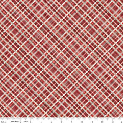 Offshore 2 Plaid Red - Riley Blake Designs - Diagonal Plaid - Quilting Cotton Fabric