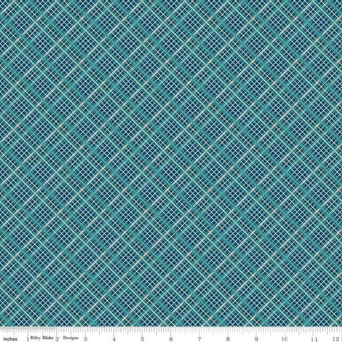 Offshore 2 Plaid Teal - Riley Blake Designs - Blue Diagonal Plaid - Quilting Cotton Fabric