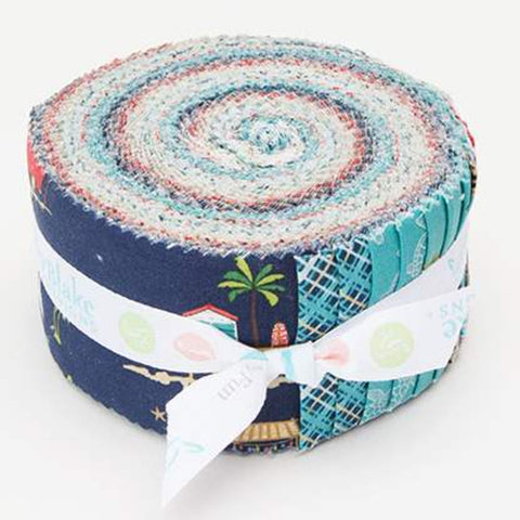 Offshore 2 2.5-Inch Rolie Polie Jelly Roll 40 pieces Riley Blake Designs - Precut Bundle - Beach Retro - Quilting Cotton Fabric