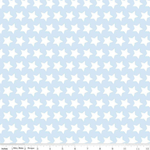"SALE Star Boy Blue - Riley Blake Designs - 1/2"" White Stars on Light Blue - Quilting Cotton Fabric - 1 yard 35"" end of bolt pieces"