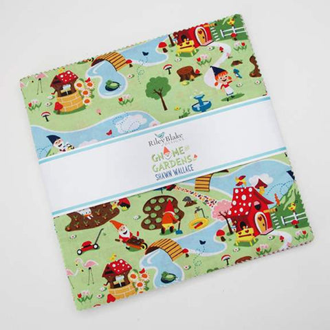 "Gnome and Gardens Layer Cake 10"" Stacker Bundle - Riley Blake Designs - 42 piece Precut Pre cut - Quilting Cotton Fabric"