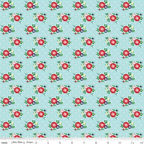 SALE Simple Goodness Floral Aqua - Riley Blake Designs - Flowers Blue - Quilting Cotton Fabric - choose your cut