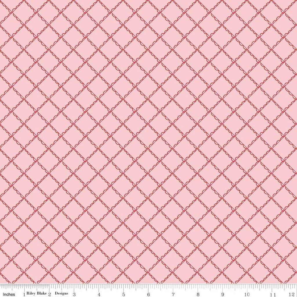 Simple Goodness Ruffle Plaid Pink - Riley Blake Designs - Diagonal Ruffled Lines - Quilting Cotton Fabric