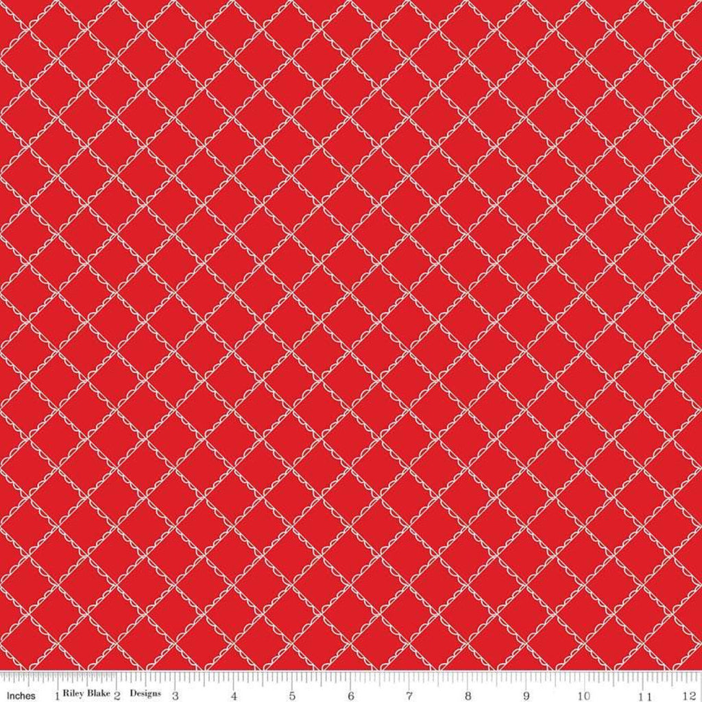 SALE Simple Goodness Ruffle Plaid Red - Riley Blake Designs - Red White Diagonal Lines - Quilting Cotton Fabric - 1 yard end of bolt piece