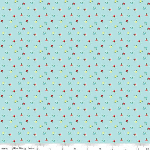 Simple Goodness Mini Flowers Aqua - Riley Blake Designs - Blue Floral - Quilting Cotton Fabric