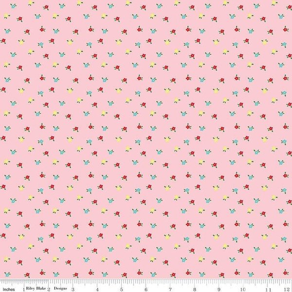 "SALE Simple Goodness Mini Flowers Pink - Riley Blake Designs - Floral - Quilting Cotton Fabric - 31"" end of bolt piece"