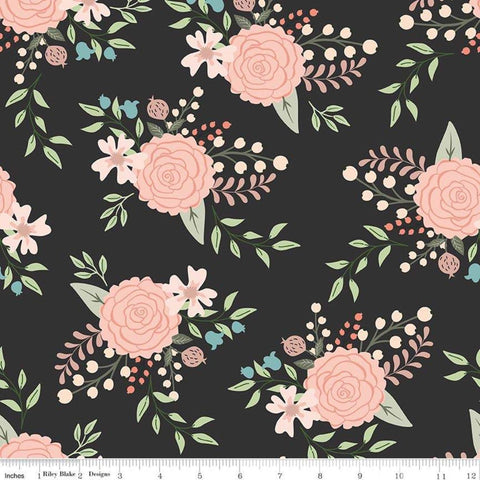 Bliss Main Black SPARKLE - Riley Blake Designs - Floral Flowers Rose Gold SPARKLE - Quilting Cotton Fabric