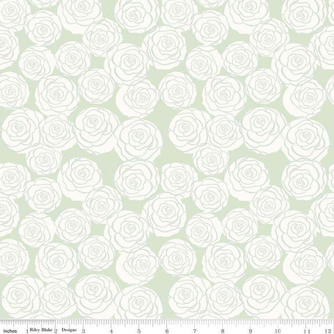 Bliss Roses Mint - Riley Blake Designs - Green and Cream Flowers Floral -  Quilting Cotton Fabric