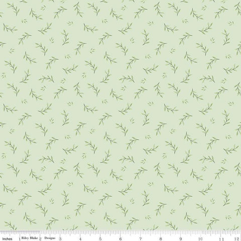 SALE Bliss Leaves Mint - Riley Blake Designs - Green Leaf Floral -  Quilting Cotton Fabric