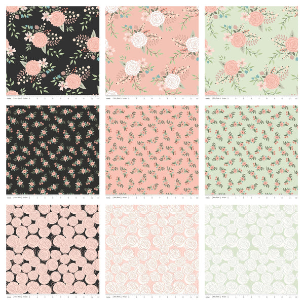 "Bliss Layer Cake 10"" Stacker Bundle - Riley Blake Designs - 42 piece Precut Pre cut - Rose Gold SPARKLE Floral - Quilting Cotton Fabric"