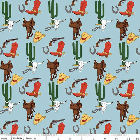 SALE Cowboy Country Gear Blue - Riley Blake Designs - Hats Saddles Guns Boots Cacti Western -  Quilting Cotton Fabric