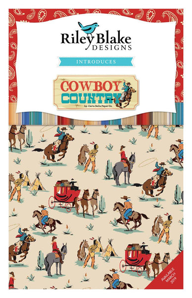 Cowboy Country Fat Quarter Bundle 18 pieces - Riley Blake Designs - Pre Cut Precut - Western - Quilting Cotton Fabric