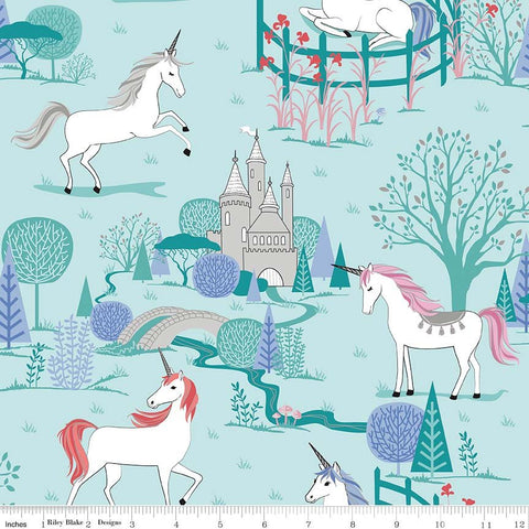 My Unicorn Main Mint SPARKLE - Riley Blake Designs - Blue Green Fantasy Silver SPARKLE - Quilting Cotton Fabric - choose your cut