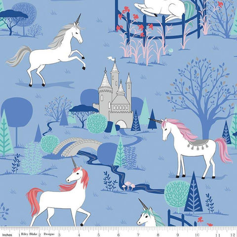 My Unicorn Main Periwinkle SPARKLE - Riley Blake Designs - Purple Fantasy Silver SPARKLE - Quilting Cotton Fabric - choose your cut