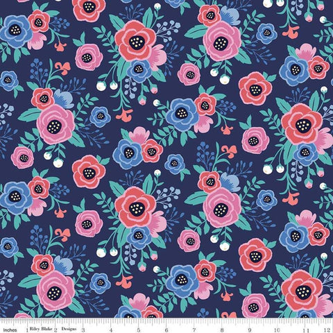 My Unicorn Floral Navy - Riley Blake Designs - Blue Poppies Flowers - Quilting Cotton Fabric - choose your cut