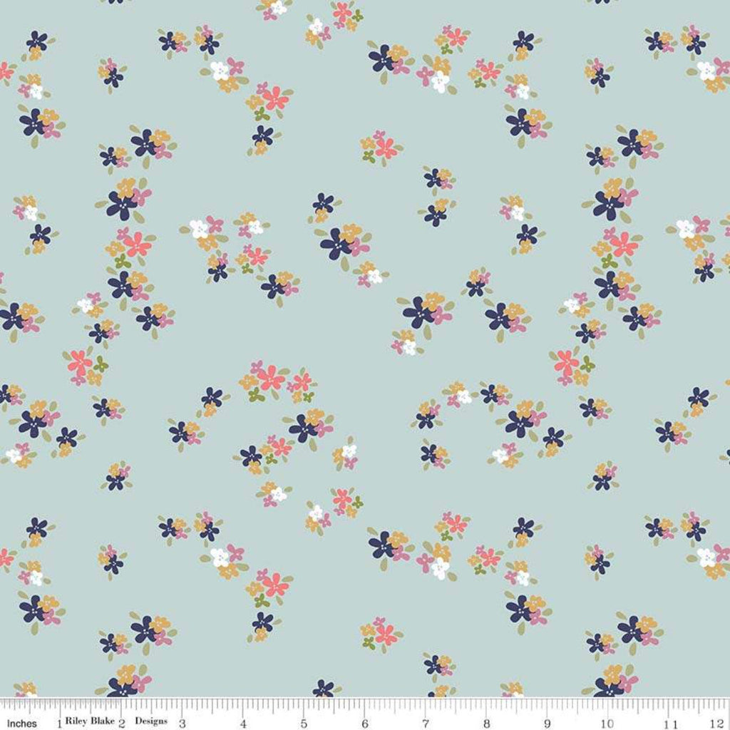 "SALE In the Meadow Flower Patch Blue - Riley Blake Designs - Floral Flowers - Quilting Cotton Fabric - 1 yard 20"" end of bolt piece"