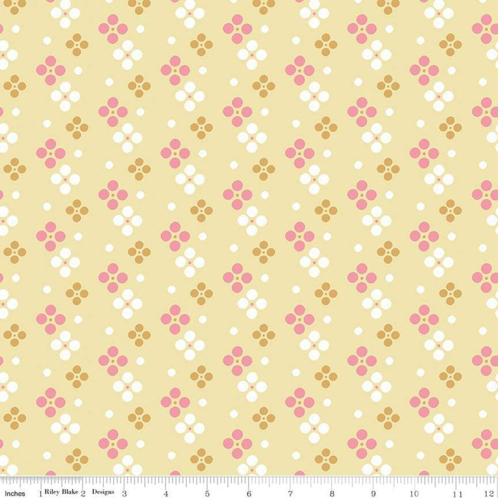 SALE In the Meadow Spot Yellow - Riley Blake Designs - Geometric Circles Dots - Quilting Cotton Fabric - 1 yard end of bolt piece