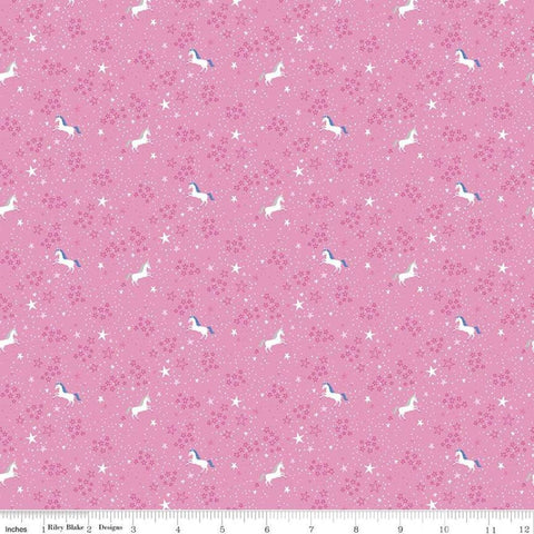 My Unicorn Starry Night Dark Pink - Riley Blake Designs - Stars Unicorns Fantasy - Quilting Cotton Fabric - choose your cut