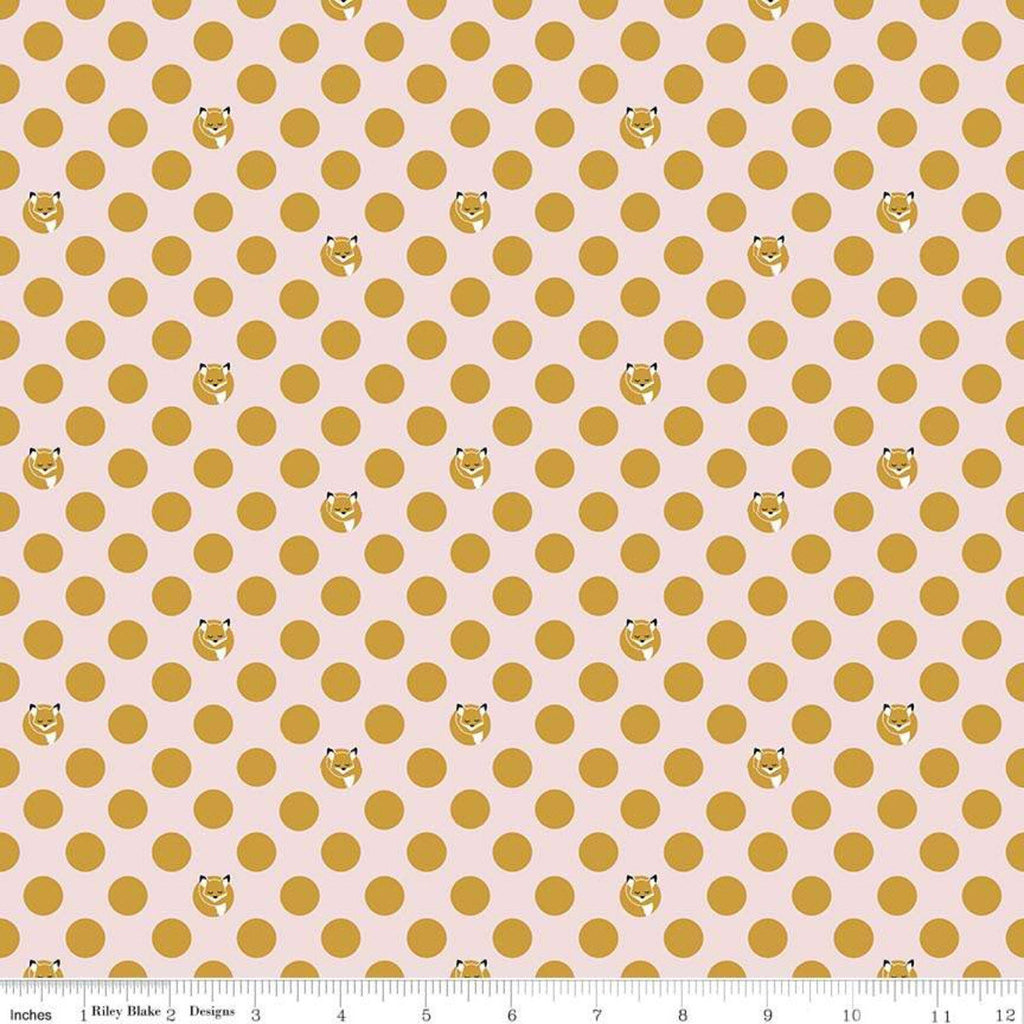 SALE Fox Farm Dots Pink SPARKLE - Riley Blake Designs - Polka Dots Foxes Gold Metallic SPARKLE - Quilting Cotton Fabric