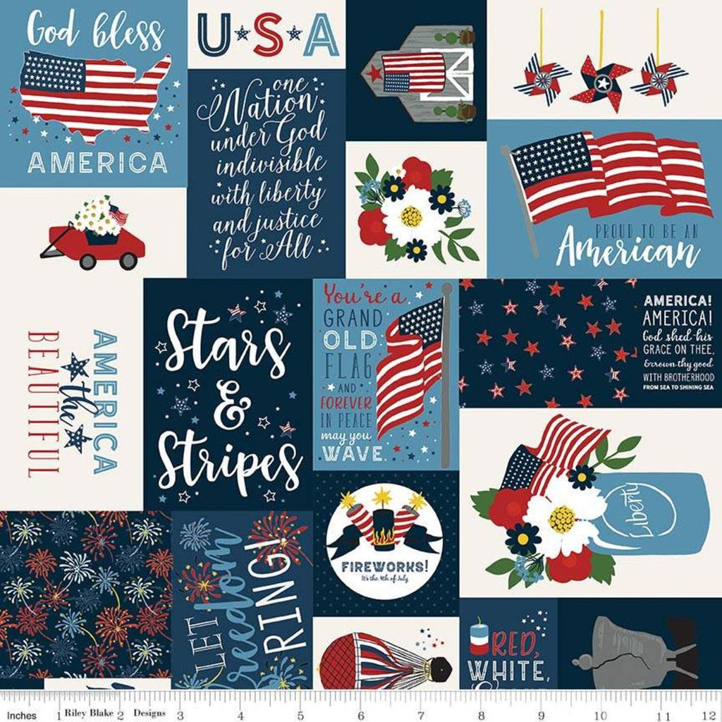 Celebrate America Main Navy - Riley Blake Designs - Blue Patriotic Patchwork Text Icons Flag - Quilting Cotton Fabric - end of bolt pieces