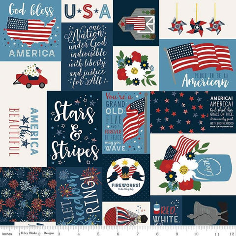 Celebrate America Main Navy - Riley Blake Designs - Blue Patriotic Patchwork Text Icons Flag - Quilting Cotton Fabric