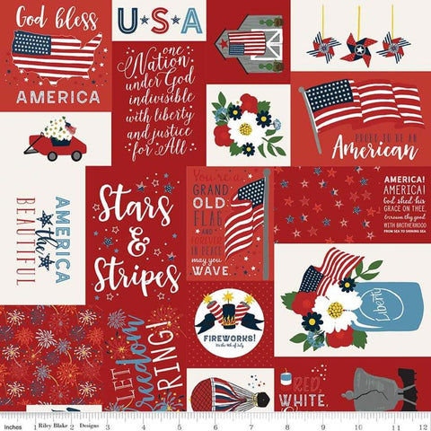 SALE Celebrate America Main Red - Riley Blake Designs - Patriotic Patchwork Text Icons Flags - Quilting Cotton Fabric