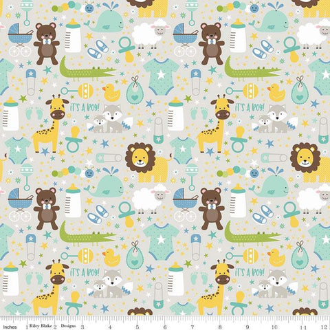 SALE Sweet Baby Boy Main Gray - Riley Blake Designs - Lions Giraffes Bears Bottles Pacifiers -  Quilting Cotton Fabric - choose your cut