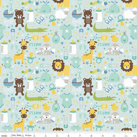 SALE Sweet Baby Boy Main Light Blue - Riley Blake Designs - Lions Giraffes Bears Baby Items -  Quilting Cotton Fabric - choose your cut
