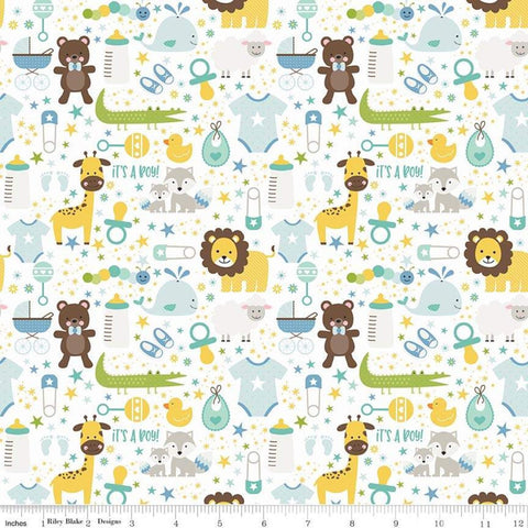 SALE Sweet Baby Boy Main White - Riley Blake Designs - Lions Giraffes Bears Pacifiers Baby Items -  Quilting Cotton Fabric - choose your cut