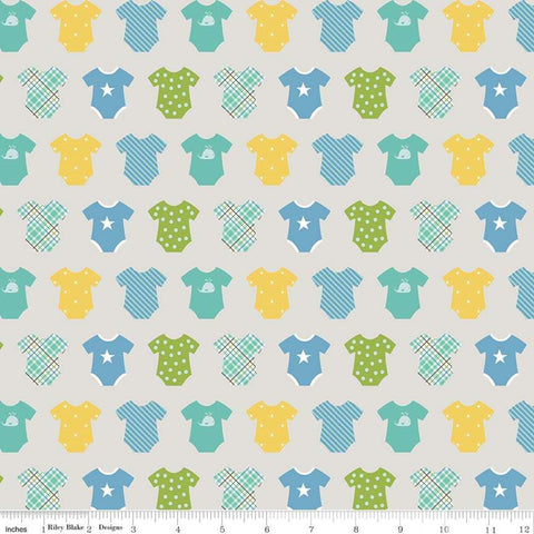 SALE Sweet Baby Boy Onesies Gray - Riley Blake Designs - Quilting Cotton Fabric - choose your cut