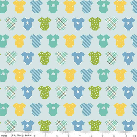 SALE Sweet Baby Boy Onesies Light Blue - Riley Blake Designs - Quilting Cotton Fabric - choose your cut