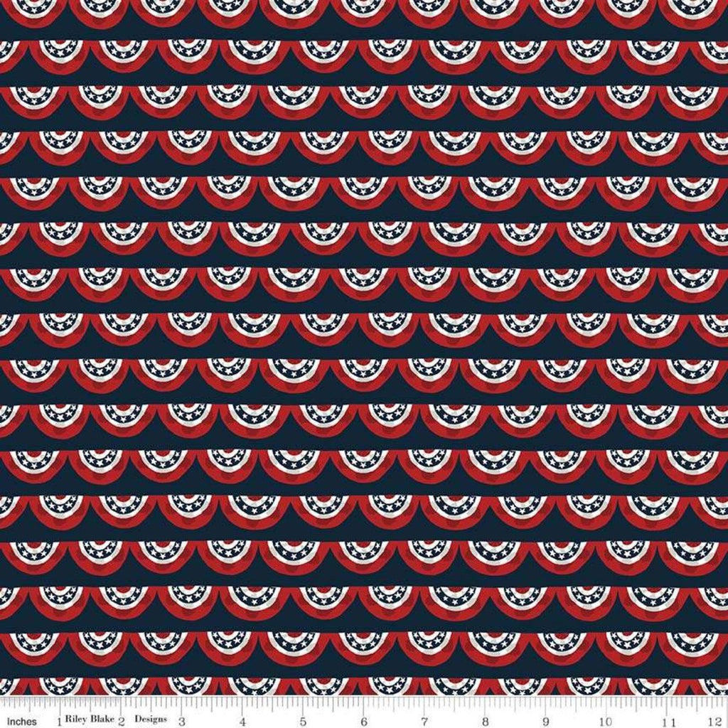 Celebrate America Banners Navy - Riley Blake Designs - Patriotic Bunting Banners on Blue  - Quilting Cotton Fabric - end of bolt pieces