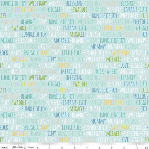 SALE Sweet Baby Boy Words Light Blue - Riley Blake Designs - Text - Quilting Cotton Fabric - choose your cut