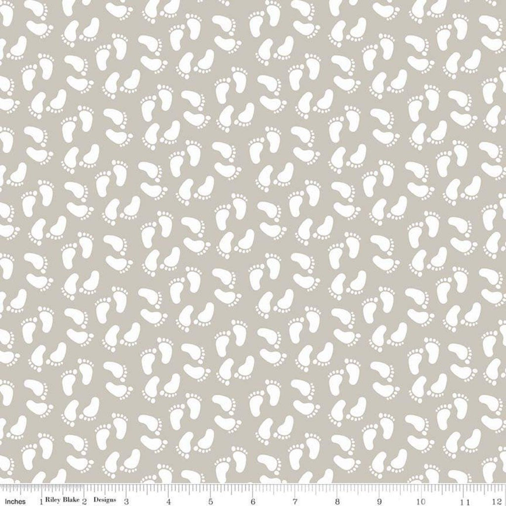 "Sweet Baby Boy Feet Gray - Riley Blake Designs - Quilting Cotton Fabric - 1 yard 18"" end of bolt piece"