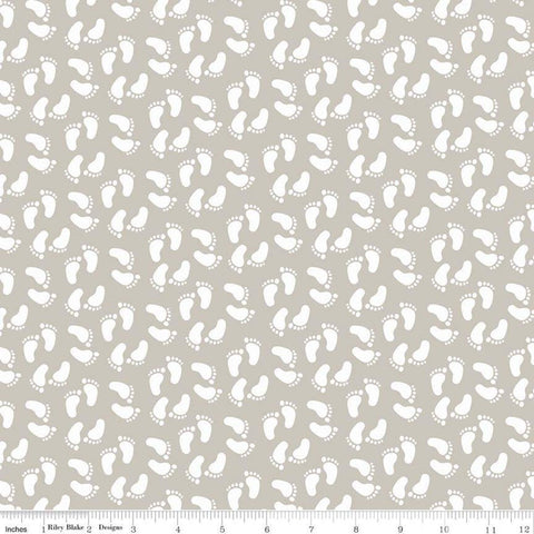 SALE Sweet Baby Boy Feet Gray - Riley Blake Designs - Quilting Cotton Fabric - choose your cut