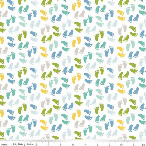 SALE Sweet Baby Boy Feet White - Riley Blake Designs - Quilting Cotton Fabric - choose your cut