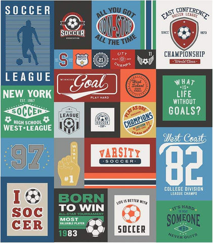 SALE Varsity Soccer Panel Blue by Riley Blake Designs - Sports Patches Panel - Quilting Cotton Fabric