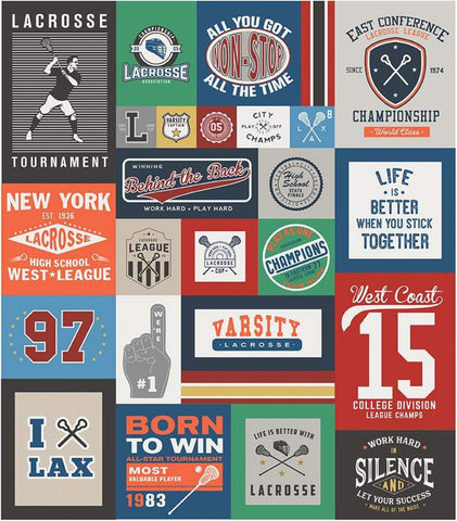 SALE Varsity Lacrosse Panel by Riley Blake Designs - Sports Patches Panel - Quilting Cotton Fabric