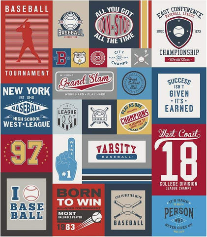 Varsity Baseball Panel by Riley Blake Designs - Sports Patches Panel - Quilting Cotton Fabric