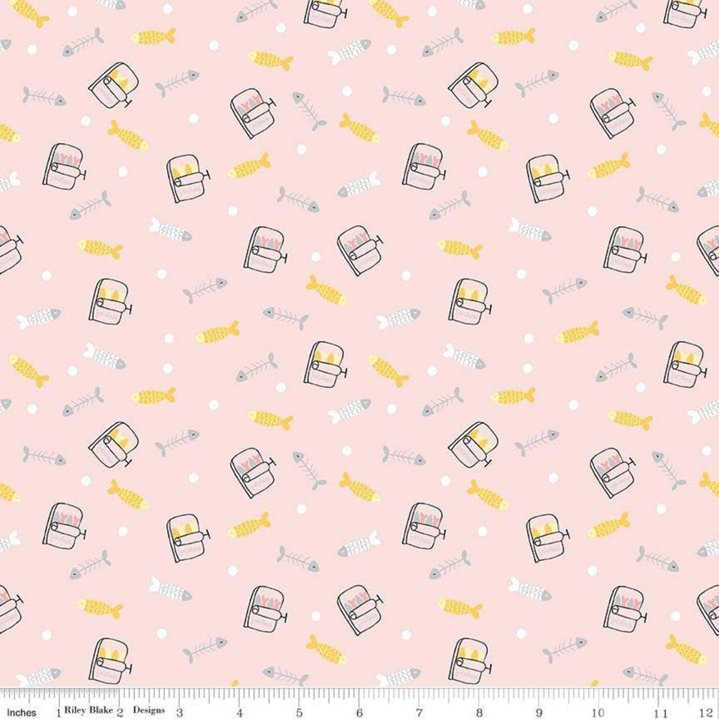 Meow and Forever Fish Pink - Riley Blake Designs - Fish Bones Sardines -  Quilting Cotton Fabric
