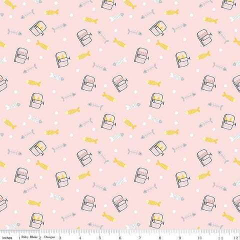 SALE Meow and Forever Fish Pink - Riley Blake Designs - Fish Bones Sardines -  Quilting Cotton Fabric