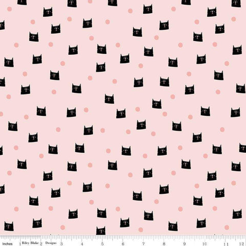 Meow and Forever Dots Pink - Riley Blake Designs - Cat Kitten Polka Dots -  Quilting Cotton Fabric